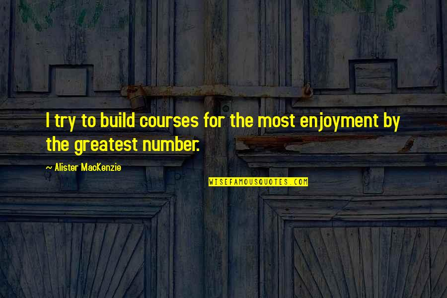 Lloyd Asplund Quotes By Alister MacKenzie: I try to build courses for the most