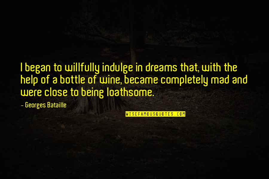 Loathsome Quotes By Georges Bataille: I began to willfully indulge in dreams that,