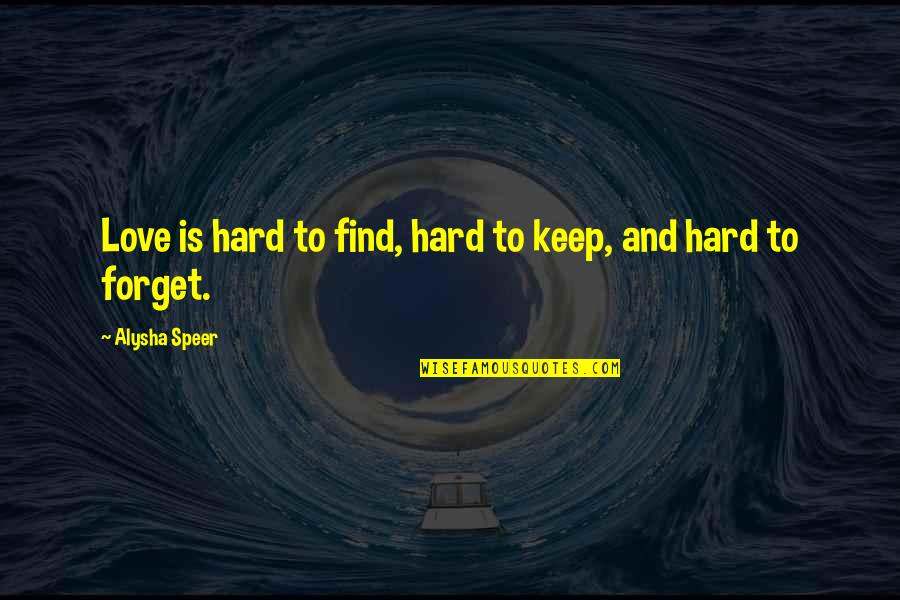 Lonely Life Quotes By Alysha Speer: Love is hard to find, hard to keep,
