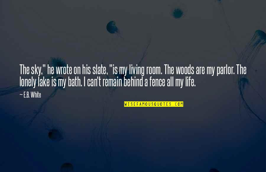 """Lonely Life Quotes By E.B. White: The sky,"""" he wrote on his slate, """"is"""