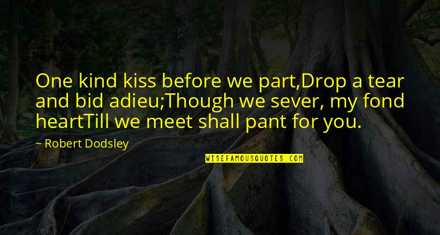 Long Distance Relationship Long Quotes By Robert Dodsley: One kind kiss before we part,Drop a tear