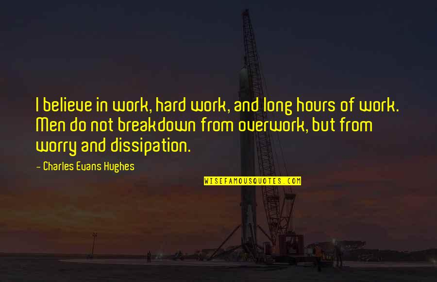 Long Hours Quotes By Charles Evans Hughes: I believe in work, hard work, and long