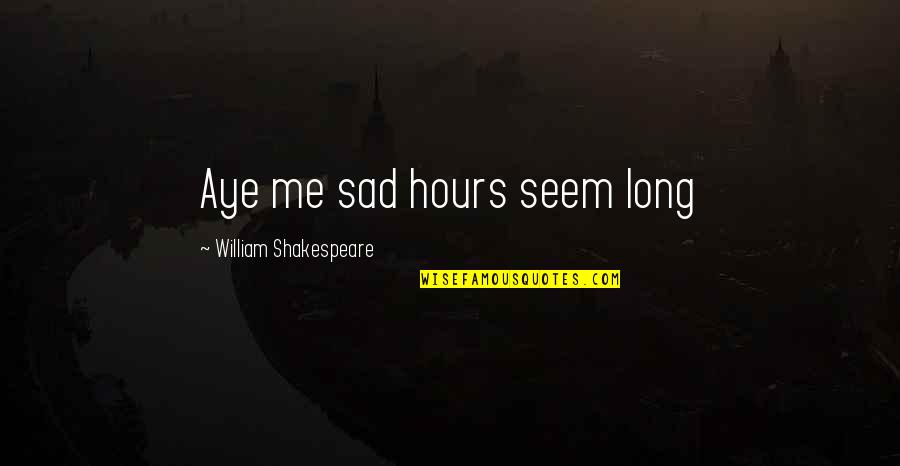 Long Hours Quotes By William Shakespeare: Aye me sad hours seem long