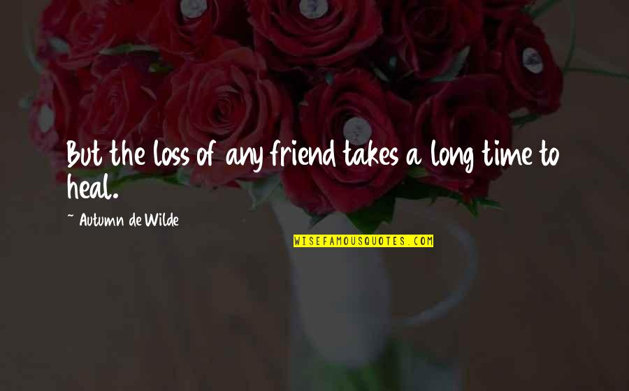 Long Time Best Friend Quotes By Autumn De Wilde: But the loss of any friend takes a