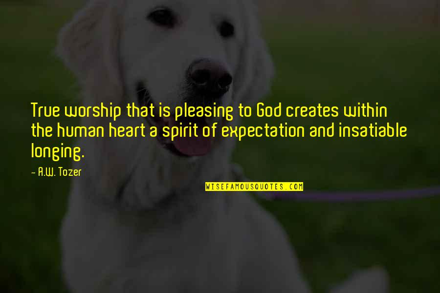 Longing For God Quotes By A.W. Tozer: True worship that is pleasing to God creates