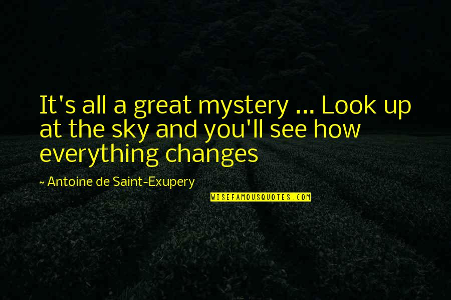 Look The Sky Quotes By Antoine De Saint-Exupery: It's all a great mystery ... Look up