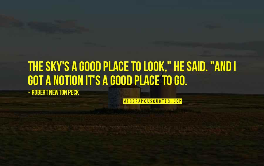 """Look The Sky Quotes By Robert Newton Peck: The sky's a good place to look,"""" he"""