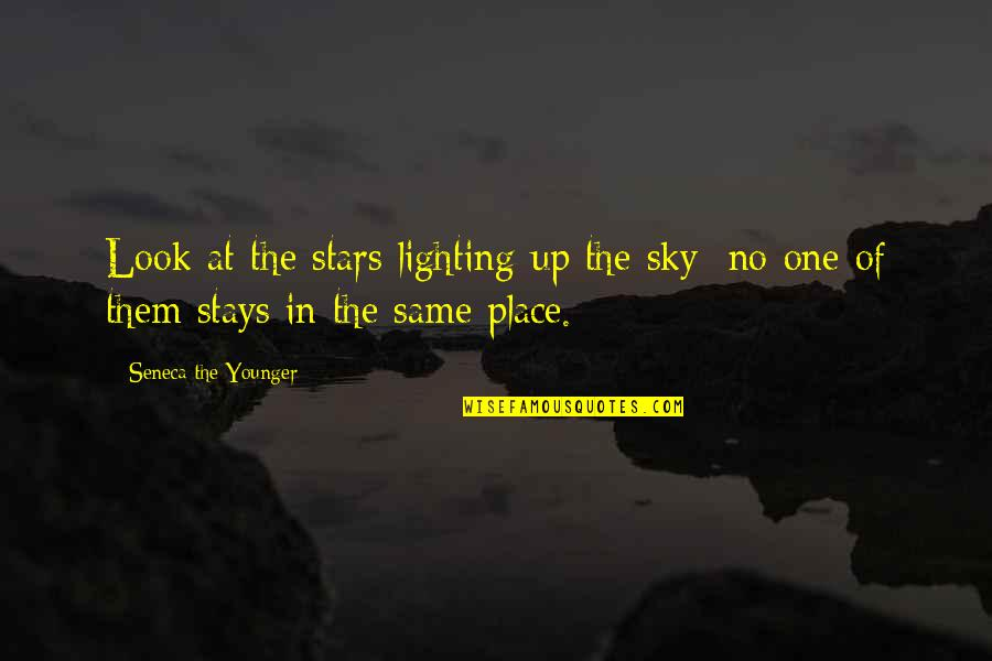 Look The Sky Quotes By Seneca The Younger: Look at the stars lighting up the sky: