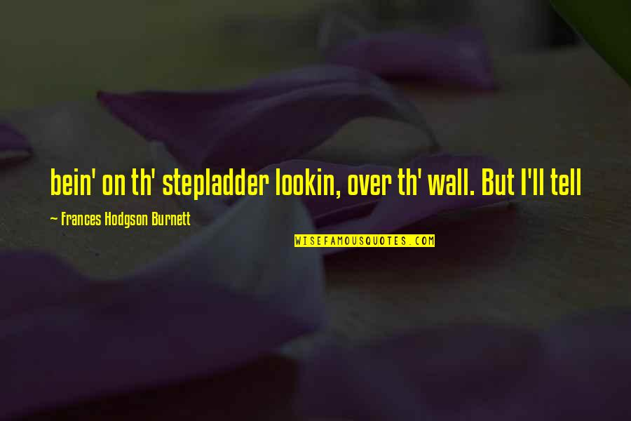 Lookin Quotes By Frances Hodgson Burnett: bein' on th' stepladder lookin, over th' wall.