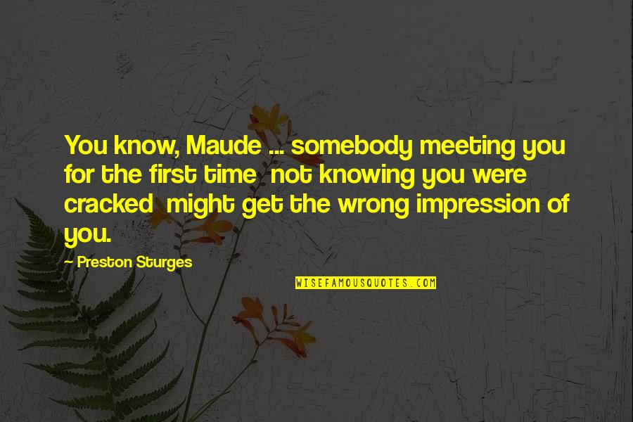 Looking After Your Friends Quotes By Preston Sturges: You know, Maude ... somebody meeting you for