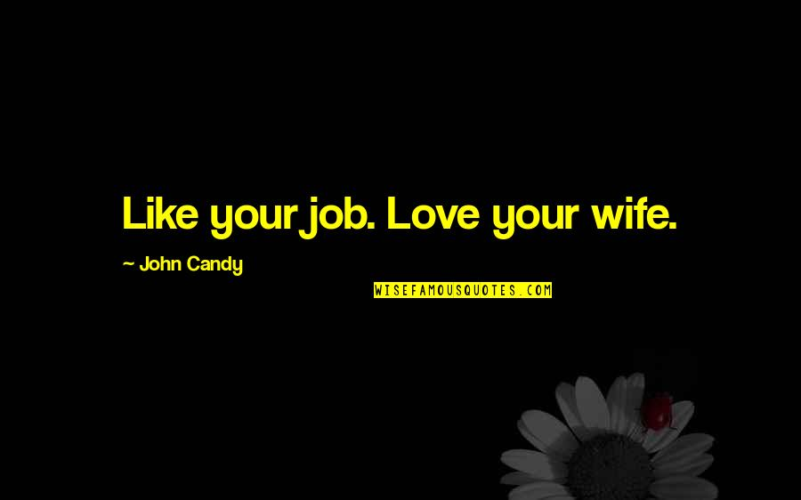 Looking At The Glass Half Full Quotes By John Candy: Like your job. Love your wife.