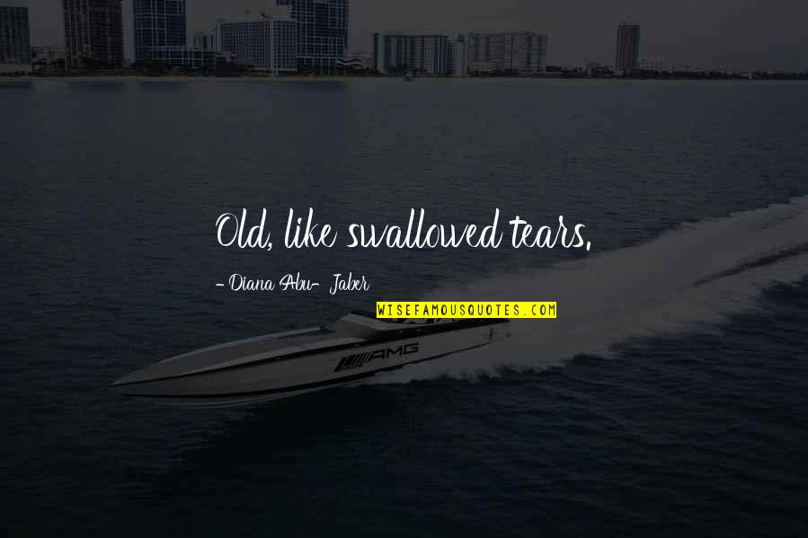 Looking Back And Smiling Quotes By Diana Abu-Jaber: Old, like swallowed tears.