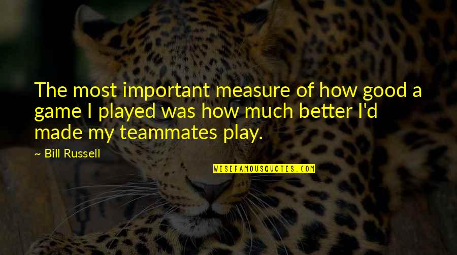 Looks Does Matter Quotes By Bill Russell: The most important measure of how good a