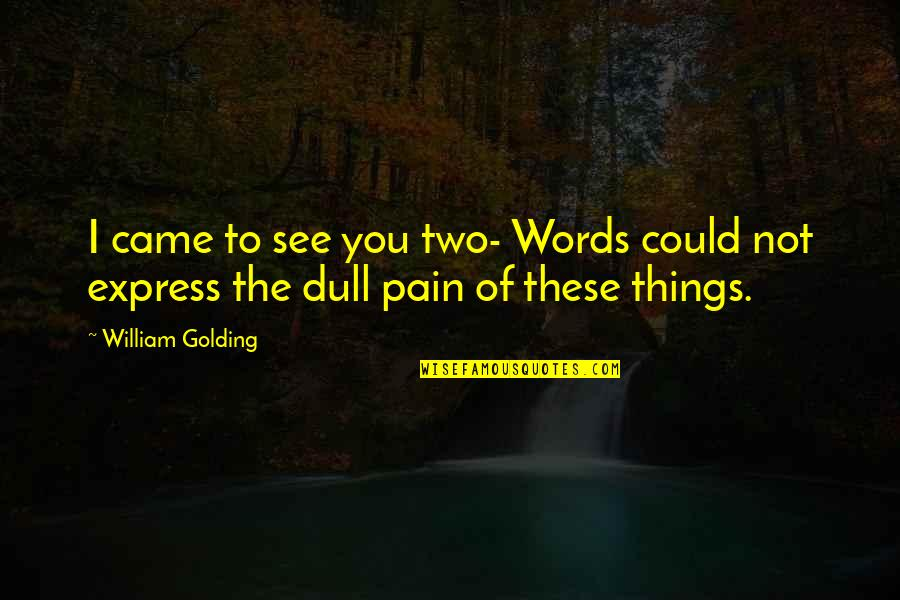 Loosing Quotes By William Golding: I came to see you two- Words could