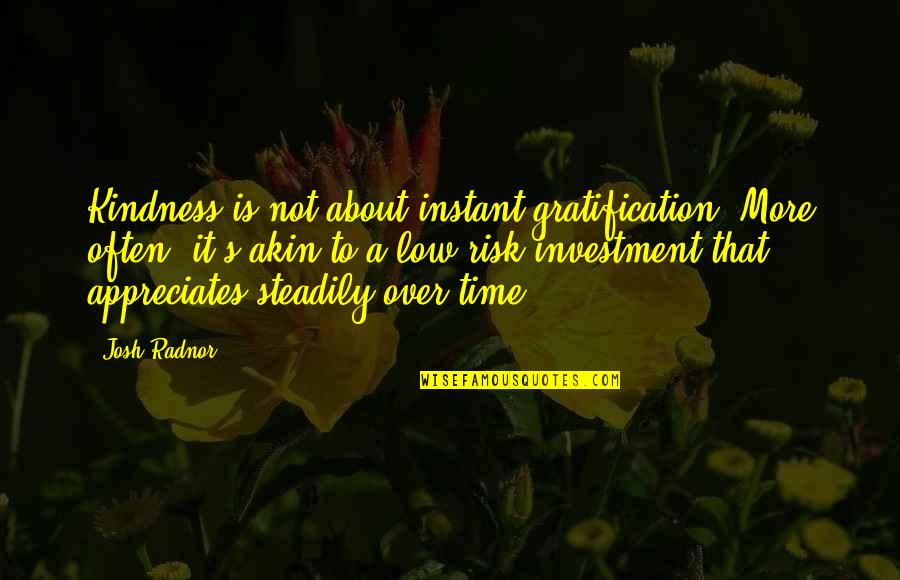 Lopping Quotes By Josh Radnor: Kindness is not about instant gratification. More often,