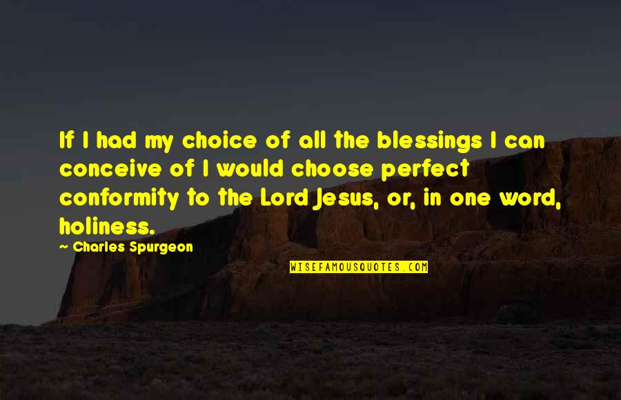 Lord's Blessings Quotes By Charles Spurgeon: If I had my choice of all the