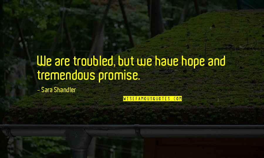 Los Amorosos Cartas A Chepita Quotes By Sara Shandler: We are troubled, but we have hope and