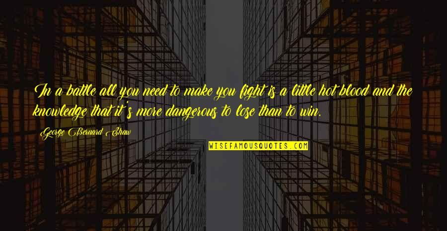 Lose It Quotes By George Bernard Shaw: In a battle all you need to make