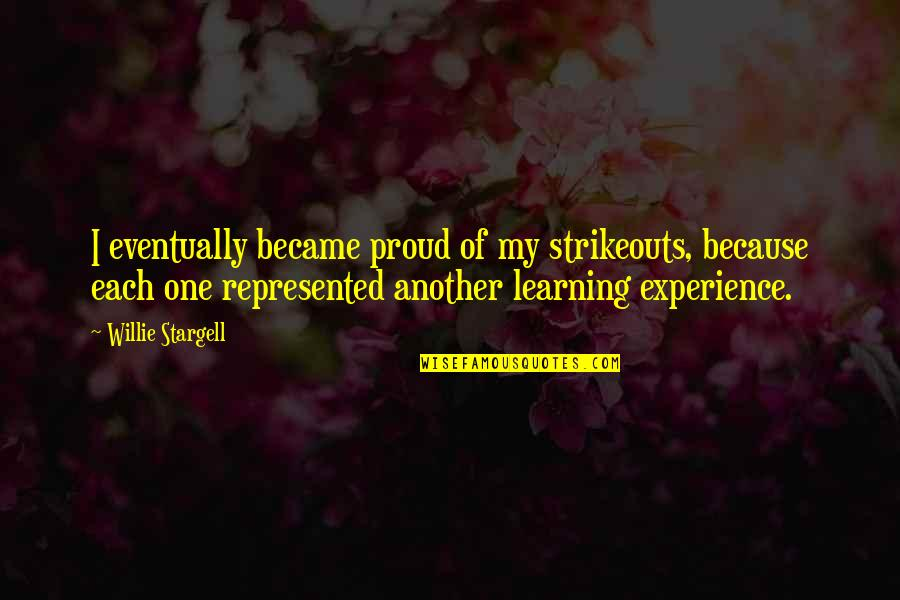 Losing A Mother Young Quotes By Willie Stargell: I eventually became proud of my strikeouts, because