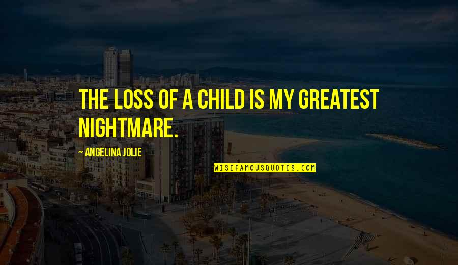 Loss Of A Child Quotes By Angelina Jolie: The loss of a child is my greatest