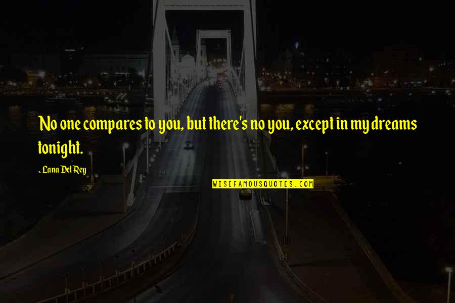 Lost Dreams Quotes By Lana Del Rey: No one compares to you, but there's no