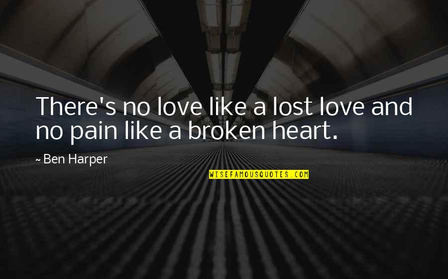 Lost Love And Pain Quotes By Ben Harper: There's no love like a lost love and