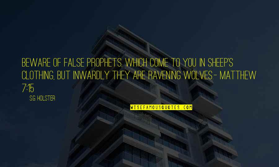 Lost My Dog Quotes By S.G. Holster: Beware of false prophets, which come to you
