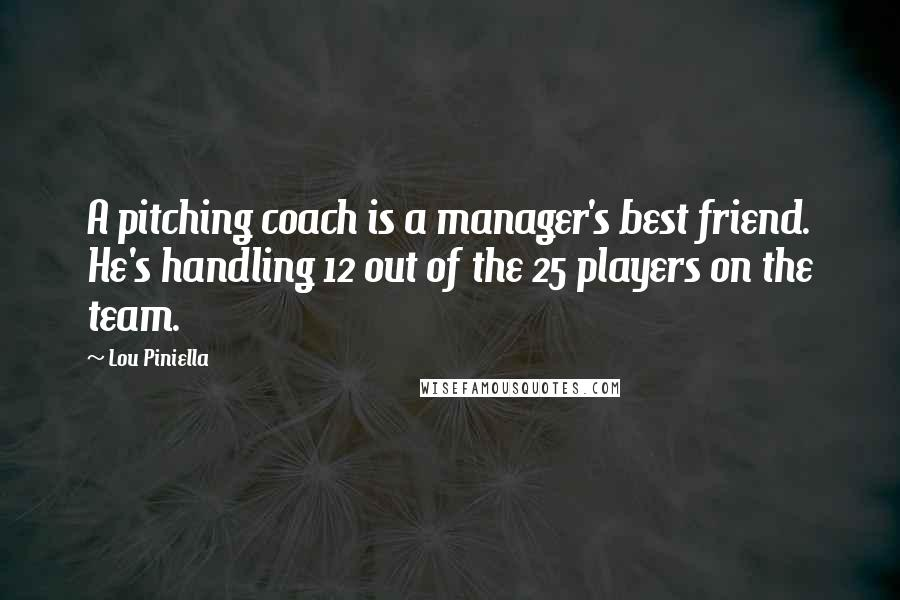 Lou Piniella quotes: A pitching coach is a manager's best friend. He's handling 12 out of the 25 players on the team.