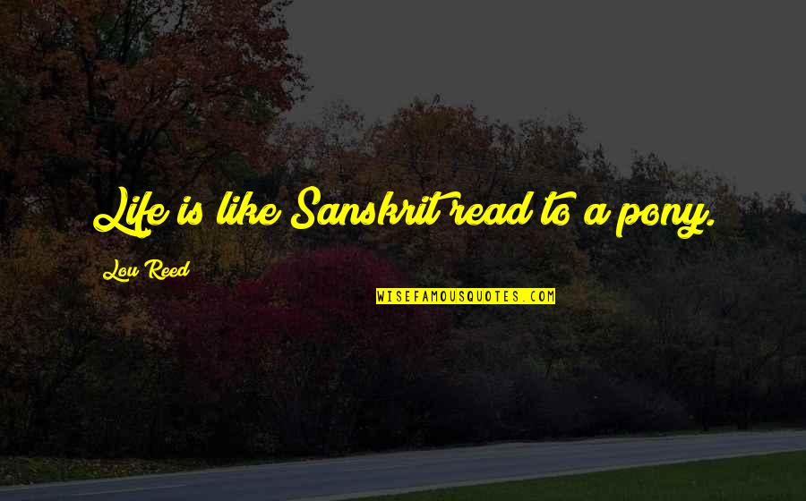 Lou Reed Quotes By Lou Reed: Life is like Sanskrit read to a pony.
