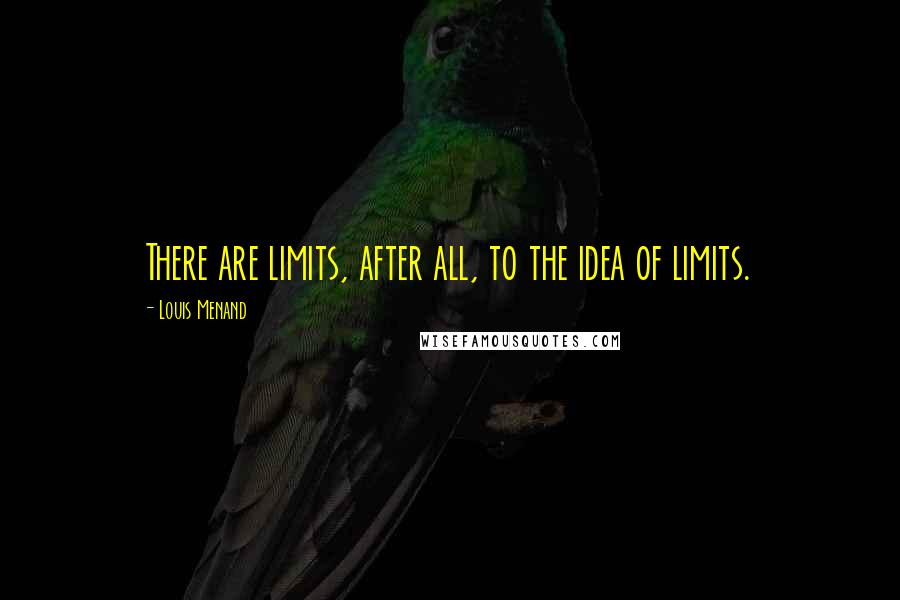 Louis Menand quotes: There are limits, after all, to the idea of limits.