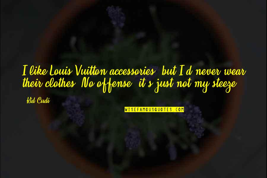 Louis Vuitton Quotes By Kid Cudi: I like Louis Vuitton accessories, but I'd never