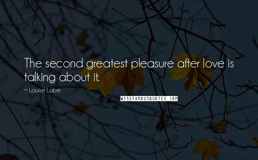 Louise Labe quotes: The second greatest pleasure after love is talking about it.