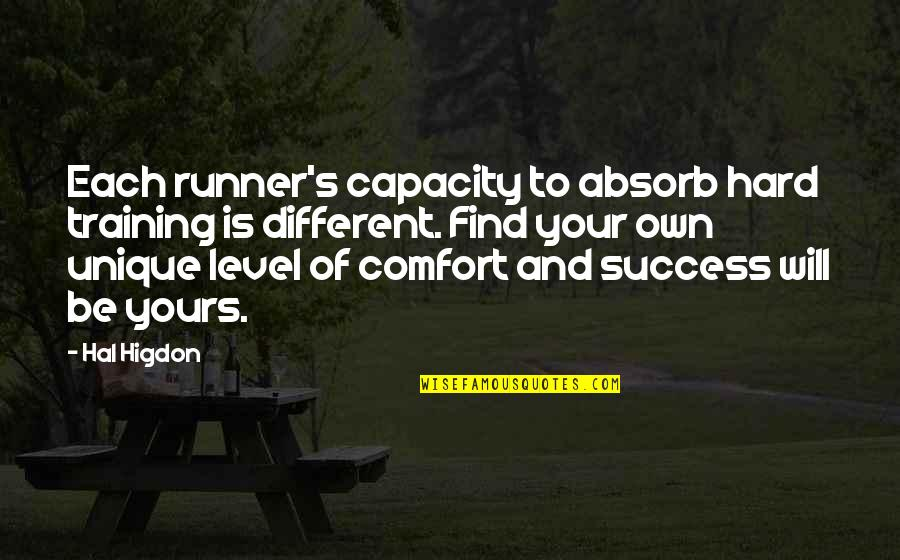 Love After Hard Times Quotes By Hal Higdon: Each runner's capacity to absorb hard training is