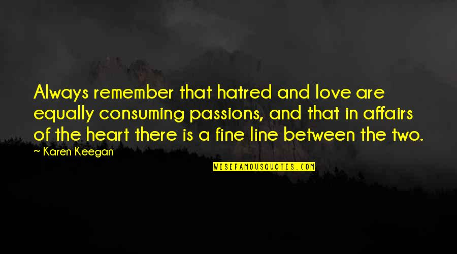 Love All Consuming Quotes By Karen Keegan: Always remember that hatred and love are equally