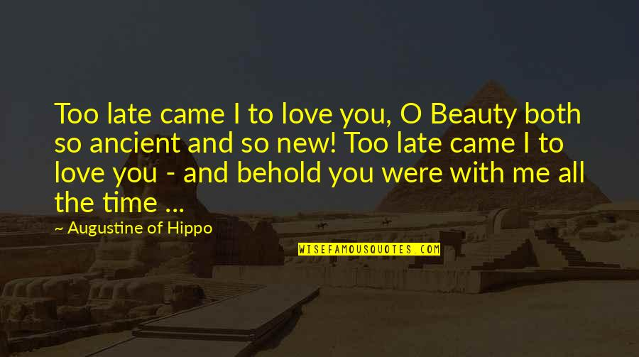 Love All Of Me Quotes By Augustine Of Hippo: Too late came I to love you, O