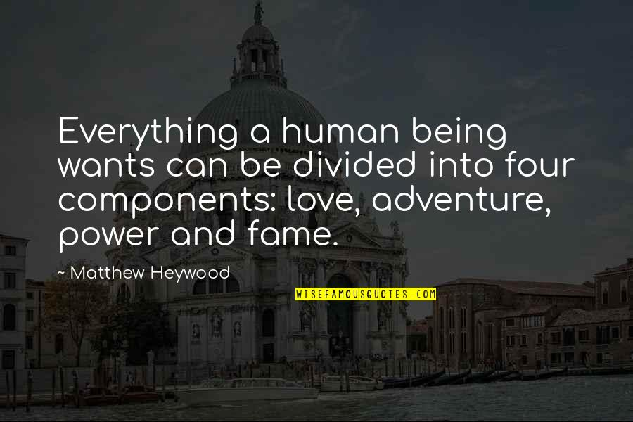 Love And Adventure Quotes By Matthew Heywood: Everything a human being wants can be divided