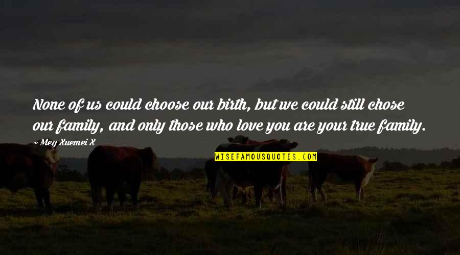 Love And Adventure Quotes By Meg Xuemei X: None of us could choose our birth, but