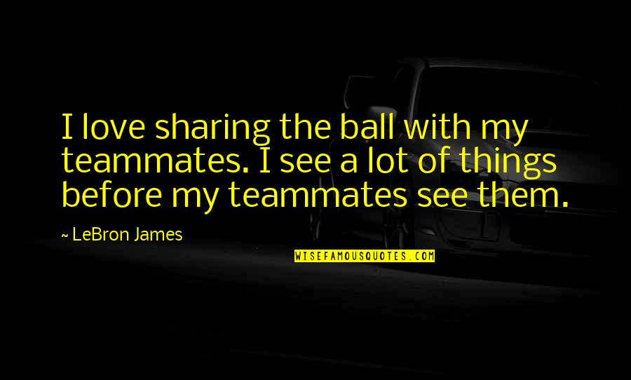 Love And Basketball Quotes By LeBron James: I love sharing the ball with my teammates.