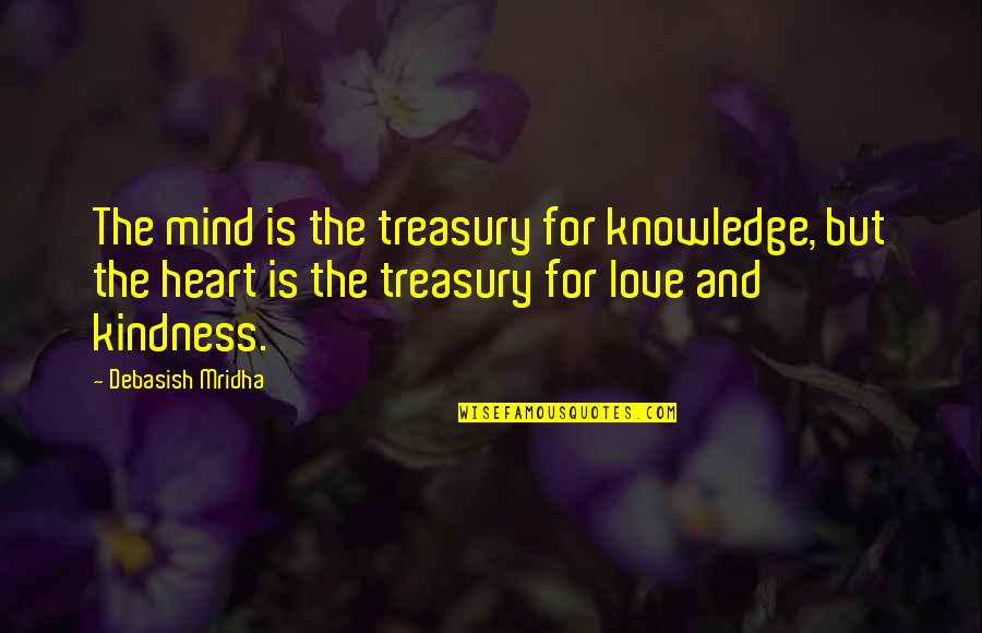 Love And Kindness Quotes By Debasish Mridha: The mind is the treasury for knowledge, but