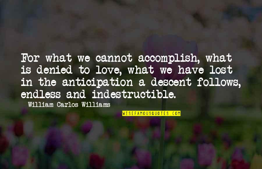 Love And Lost Quotes By William Carlos Williams: For what we cannot accomplish, what is denied
