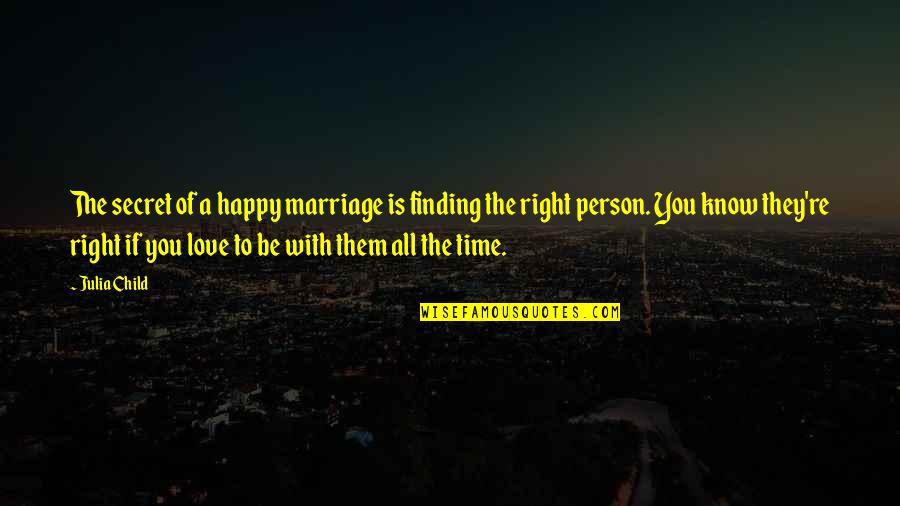 Love And Marriage Anniversary Quotes By Julia Child: The secret of a happy marriage is finding