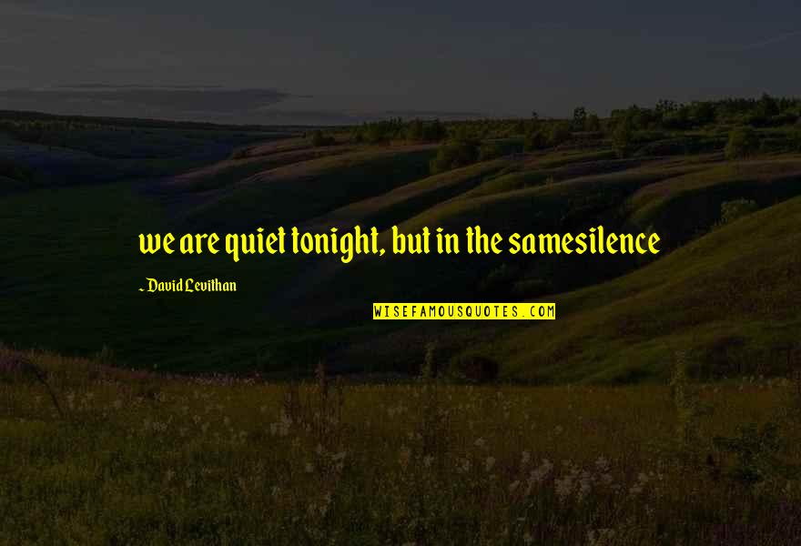 Love And Spinning Quotes By David Levithan: we are quiet tonight, but in the samesilence