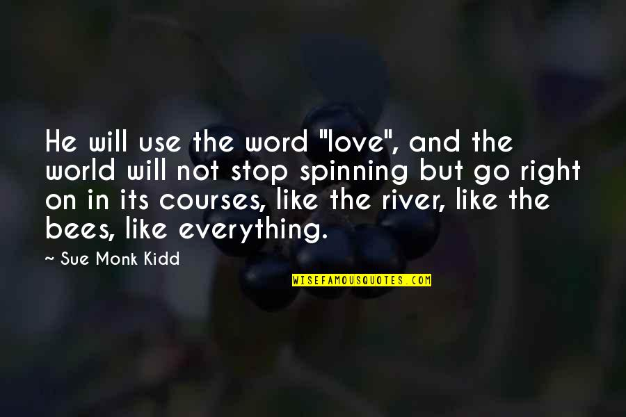 "Love And Spinning Quotes By Sue Monk Kidd: He will use the word ""love"", and the"