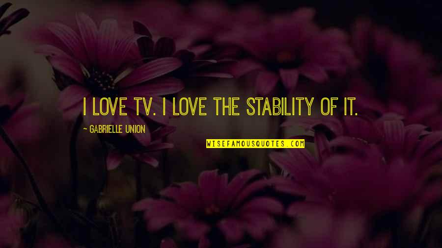 Love And Stability Quotes By Gabrielle Union: I love TV. I love the stability of