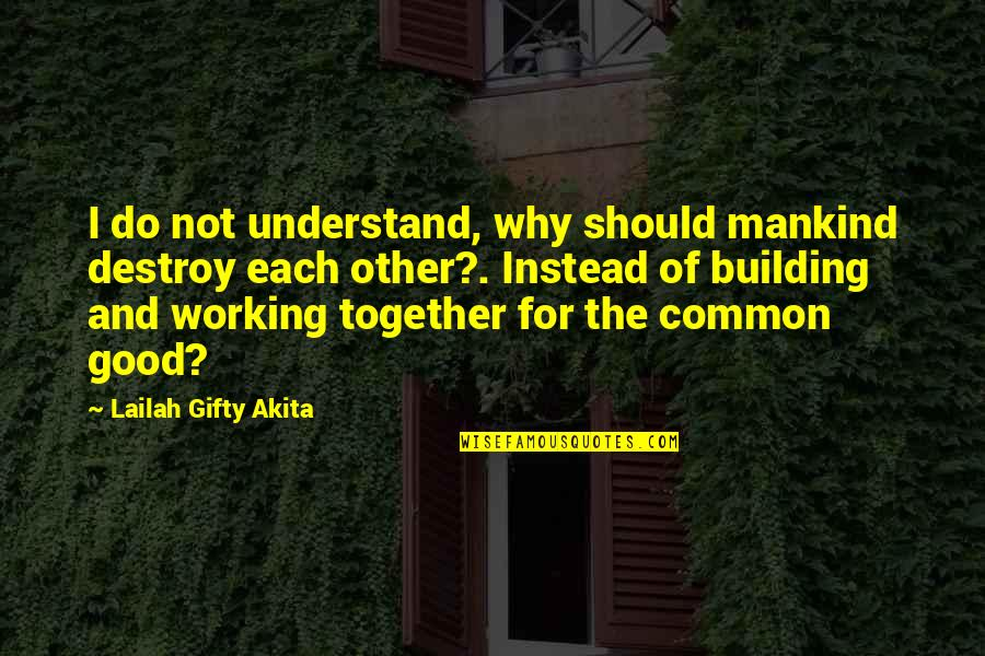 Love And Working Together Quotes By Lailah Gifty Akita: I do not understand, why should mankind destroy