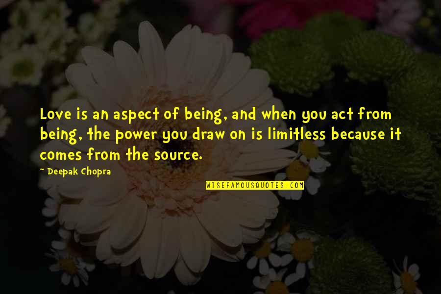 Love Aspect Quotes By Deepak Chopra: Love is an aspect of being, and when