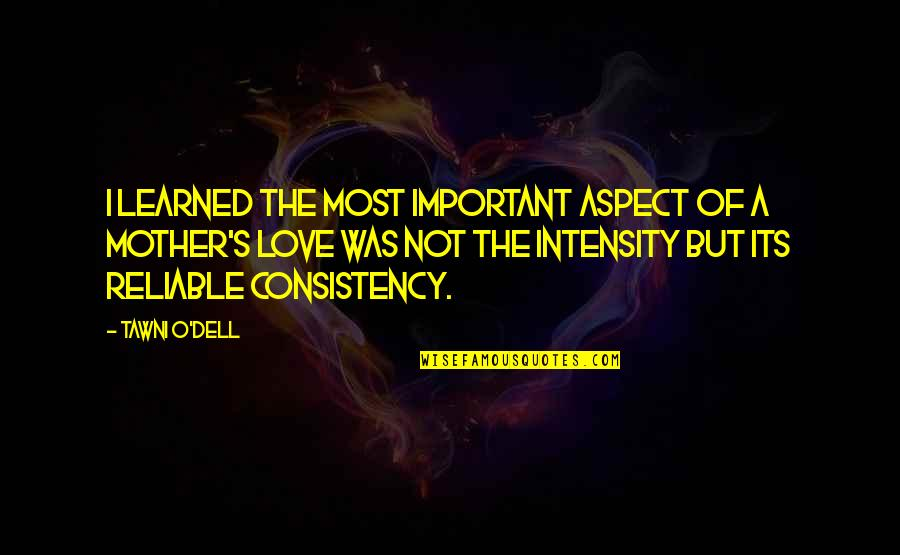 Love Aspect Quotes By Tawni O'Dell: I learned the most important aspect of a