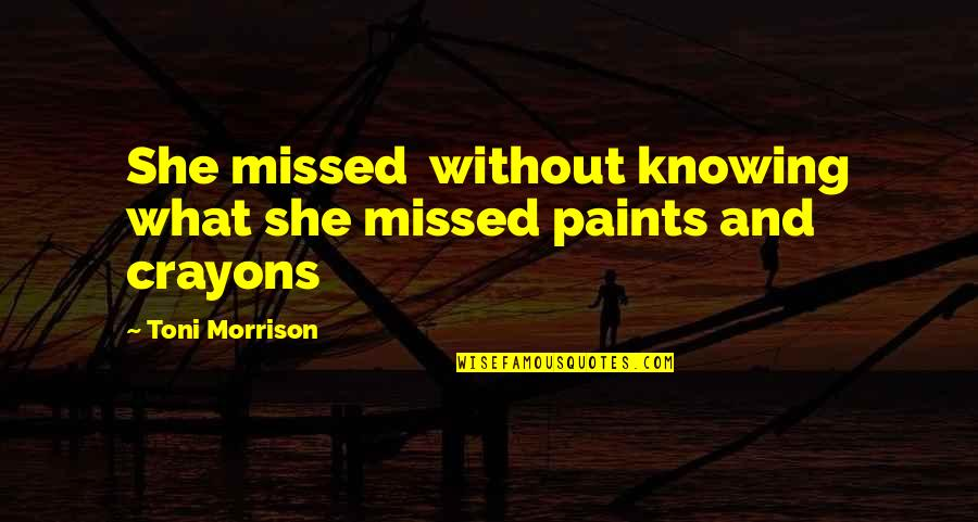 Love Can Last A Lifetime Quotes By Toni Morrison: She missed without knowing what she missed paints