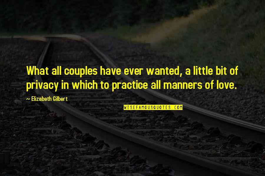 Love Couples With Quotes By Elizabeth Gilbert: What all couples have ever wanted, a little