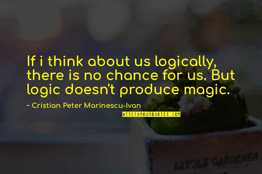 Love Distance Love Quotes By Cristian Peter Marinescu-Ivan: If i think about us logically, there is